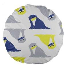 Seals Sea Lions Animals Fish Large 18  Premium Flano Round Cushions by AnjaniArt