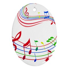 Rainbow Red Green Yellow Music Tones Notes Rhythms Ornament (oval) by AnjaniArt