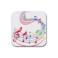 Rainbow Red Green Yellow Music Tones Notes Rhythms Rubber Coaster (square)  by AnjaniArt