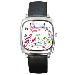 Rainbow Red Green Yellow Music Tones Notes Rhythms Square Metal Watch by AnjaniArt