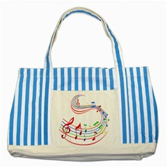 Rainbow Red Green Yellow Music Tones Notes Rhythms Striped Blue Tote Bag by AnjaniArt