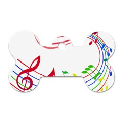 Rainbow Red Green Yellow Music Tones Notes Rhythms Dog Tag Bone (one Side) by AnjaniArt