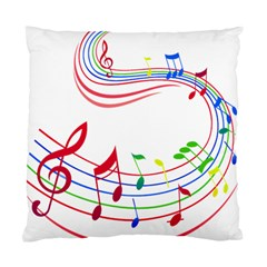 Rainbow Red Green Yellow Music Tones Notes Rhythms Standard Cushion Case (two Sides) by AnjaniArt