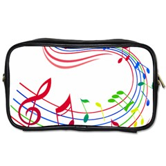 Rainbow Red Green Yellow Music Tones Notes Rhythms Toiletries Bags 2 Side by AnjaniArt