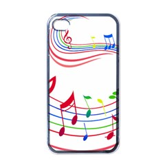 Rainbow Red Green Yellow Music Tones Notes Rhythms Apple Iphone 4 Case (black) by AnjaniArt
