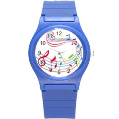 Rainbow Red Green Yellow Music Tones Notes Rhythms Round Plastic Sport Watch (s) by AnjaniArt