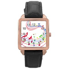 Rainbow Red Green Yellow Music Tones Notes Rhythms Rose Gold Leather Watch  by AnjaniArt