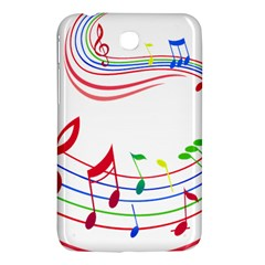 Rainbow Red Green Yellow Music Tones Notes Rhythms Samsung Galaxy Tab 3 (7 ) P3200 Hardshell Case  by AnjaniArt