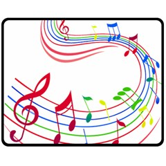 Rainbow Red Green Yellow Music Tones Notes Rhythms Double Sided Fleece Blanket (medium)  by AnjaniArt