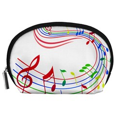 Rainbow Red Green Yellow Music Tones Notes Rhythms Accessory Pouches (large)  by AnjaniArt