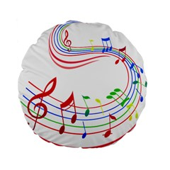 Rainbow Red Green Yellow Music Tones Notes Rhythms Standard 15  Premium Flano Round Cushions by AnjaniArt