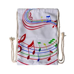 Rainbow Red Green Yellow Music Tones Notes Rhythms Drawstring Bag (small) by AnjaniArt