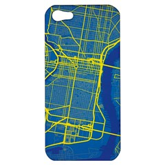 Philadelphia New York Map Art City Apple Iphone 5 Hardshell Case by AnjaniArt