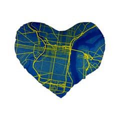 Philadelphia New York Map Art City Standard 16  Premium Heart Shape Cushions by AnjaniArt