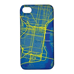 Philadelphia New York Map Art City Apple Iphone 4/4s Hardshell Case With Stand by AnjaniArt