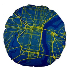 Philadelphia New York Map Art City Large 18  Premium Flano Round Cushions by AnjaniArt