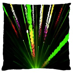 Seamless Colorful Green Light Fireworks Sky Black Ultra Large Cushion Case (two Sides) by AnjaniArt