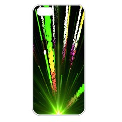 Seamless Colorful Green Light Fireworks Sky Black Ultra Apple Iphone 5 Seamless Case (white) by AnjaniArt