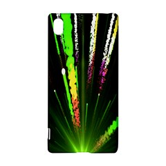 Seamless Colorful Green Light Fireworks Sky Black Ultra Sony Xperia Z3+ by AnjaniArt