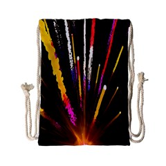 Seamless Colorful Light Fireworks Sky Black Ultra Drawstring Bag (small) by AnjaniArt