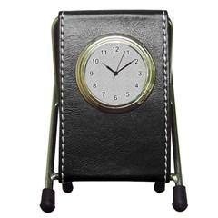 Line Black White Camuflage Polka Dots Pen Holder Desk Clocks by AnjaniArt