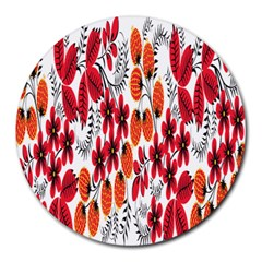 Rose Flower Red Orange Round Mousepads by AnjaniArt