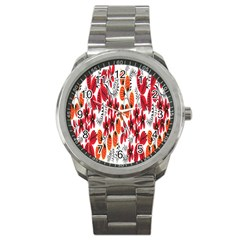 Rose Flower Red Orange Sport Metal Watch