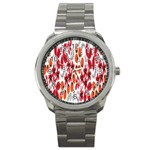 Rose Flower Red Orange Sport Metal Watch Front