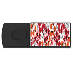 Rose Flower Red Orange Rectangular Usb Flash Drive by AnjaniArt