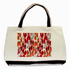 Rose Flower Red Orange Basic Tote Bag by AnjaniArt