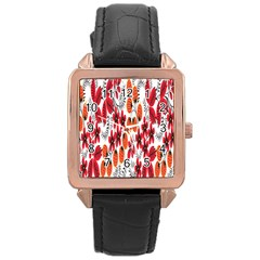 Rose Flower Red Orange Rose Gold Leather Watch  by AnjaniArt