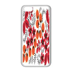 Rose Flower Red Orange Apple Iphone 5c Seamless Case (white) by AnjaniArt