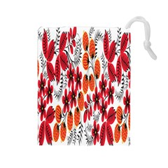 Rose Flower Red Orange Drawstring Pouches (large)  by AnjaniArt