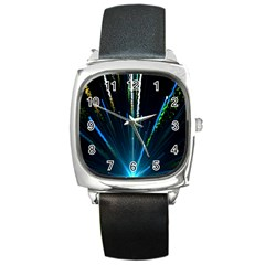 Seamless Colorful Blue Light Fireworks Sky Black Ultra Square Metal Watch by AnjaniArt