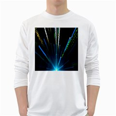 Seamless Colorful Blue Light Fireworks Sky Black Ultra White Long Sleeve T Shirts by AnjaniArt