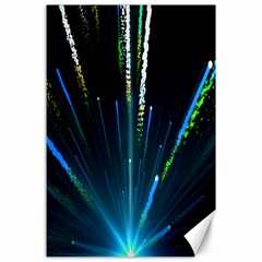 Seamless Colorful Blue Light Fireworks Sky Black Ultra Canvas 24  X 36  by AnjaniArt