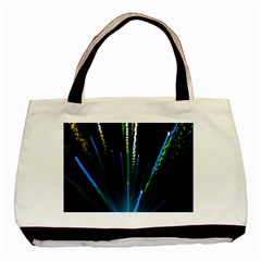 Seamless Colorful Blue Light Fireworks Sky Black Ultra Basic Tote Bag (two Sides)