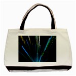 Seamless Colorful Blue Light Fireworks Sky Black Ultra Basic Tote Bag (Two Sides) Back