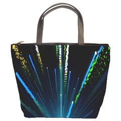 Seamless Colorful Blue Light Fireworks Sky Black Ultra Bucket Bags by AnjaniArt