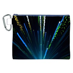 Seamless Colorful Blue Light Fireworks Sky Black Ultra Canvas Cosmetic Bag (xxl) by AnjaniArt