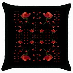 Roses From The Fantasy Garden Throw Pillow Case (black) by pepitasart