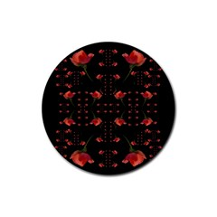 Roses From The Fantasy Garden Rubber Coaster (round)  by pepitasart