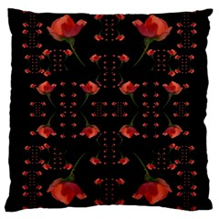 Roses From The Fantasy Garden Large Cushion Case (one Side) by pepitasart