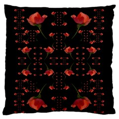 Roses From The Fantasy Garden Large Flano Cushion Case (one Side) by pepitasart