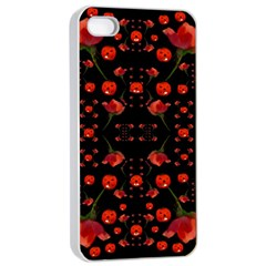 Pumkins And Roses From The Fantasy Garden Apple Iphone 4/4s Seamless Case (white) by pepitasart