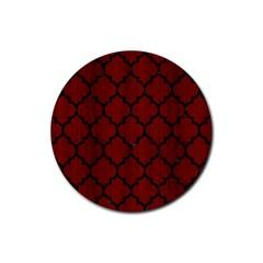 Tile1 Black Marble & Reddish Brown Wood Rubber Coaster (round)  by trendistuff