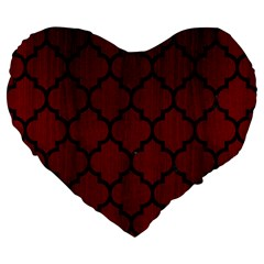 Tile1 Black Marble & Reddish Brown Wood Large 19  Premium Flano Heart Shape Cushions by trendistuff