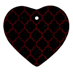 Tile1 Black Marble & Reddish Brown Wood (r) Heart Ornament (two Sides)