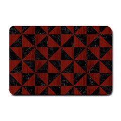 Triangle1 Black Marble & Reddish Brown Wood Small Doormat  by trendistuff