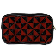 Triangle1 Black Marble & Reddish Brown Wood Toiletries Bags 2 Side by trendistuff